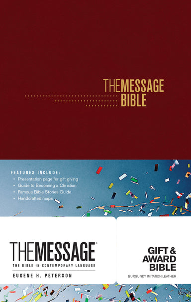 Image of The Message Gift and Award Bible, Burgundy, Paperback, Presentation Page, Charts & Maps, Ribbon Marker, Reading Plan, Bible Overview other