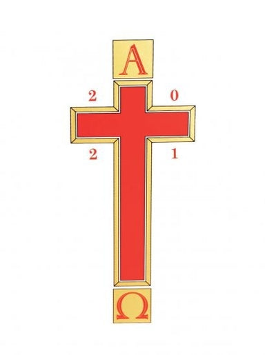 Image of Alpha & Omega with Red Cross/Gold Edging with date - Pack 1 other