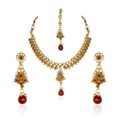 Kashvi Brass Necklace-Earring-Maang Tika Set NF22523R