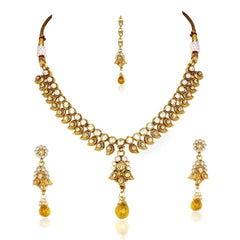 Kashvi Brass Necklace-Earring-Maang Tika Set NF22523Y