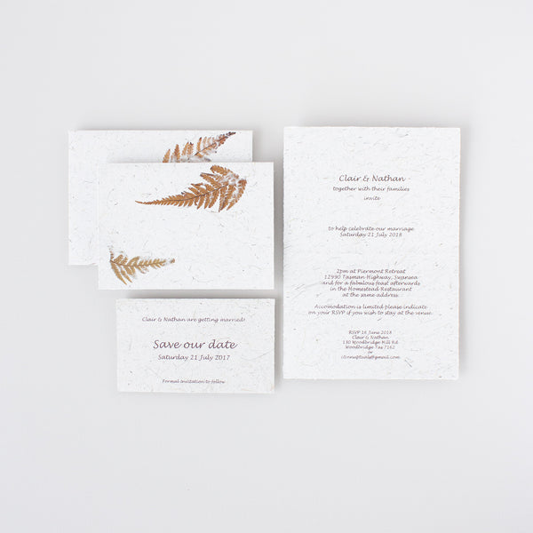 Example wedding stationery featuring fern leaves