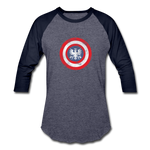 Women's US Shield Baseball T-Shirt - heather blue/navy