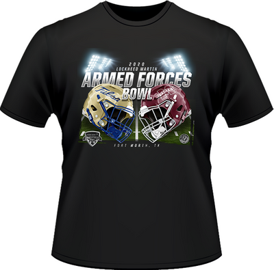 TULSA GOLDEN HURRICANE VS MISSISSIPPI STATE BULLDOGS 2020 ARMED FORCES BOWL GAME TEE