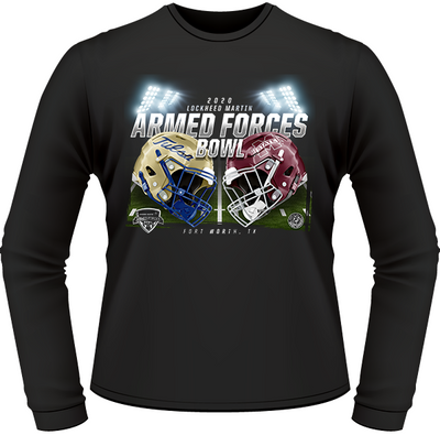 TULSA GOLDEN HURRICANE VS MISSISSIPPI STATE BULLDOGS 2020 ARMED FORCES BOWL GAME LONG SLEEVE