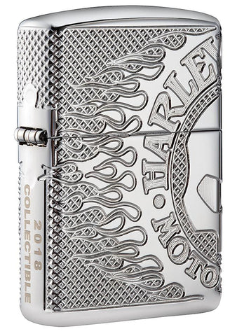Frontansicht 3/4 Winkel Zippo Feuerzeug Chrom Harley Davidson Collectible of the Year 2018