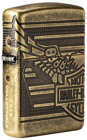 Frontansicht 3/4 Winkel Zippo Feuerzeug Harley Davidson Collectible of the Year 2019