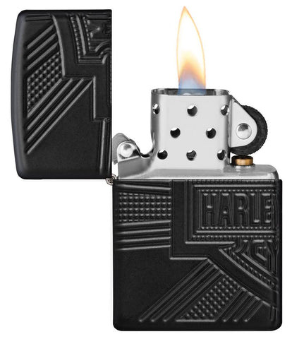 Zippo Feuerzeug Harley-Davidson Collectible of the Year 2020 geöffnet mit Flamme