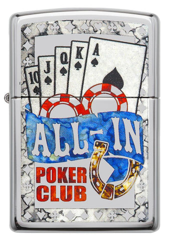 Frontansicht Zippo Feuerzeug All In Poker Club