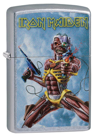 Frontansicht 3/4 Winkel Zippo Feuerzeug chrom Iron Maiden Albumcover Somewhere Back In Time