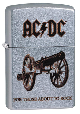 Frontansicht Zippo 3/4 Winkel AC/DC Design For Those About To Rock Feuerzeug