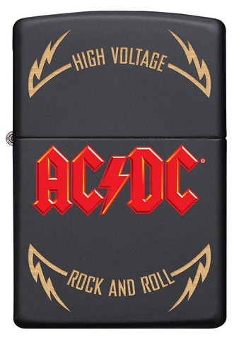 Frontansicht Zippo Feuerzeug AC/DC Cover Black Matte, High Voltage Rock and Roll Logo