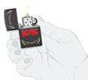 Frontansicht Zippo Feuerzeug AC/DC Cover Black Matte, High Voltage Rock and Roll Logo geöffnet mit Flamme in stilisierter Hand