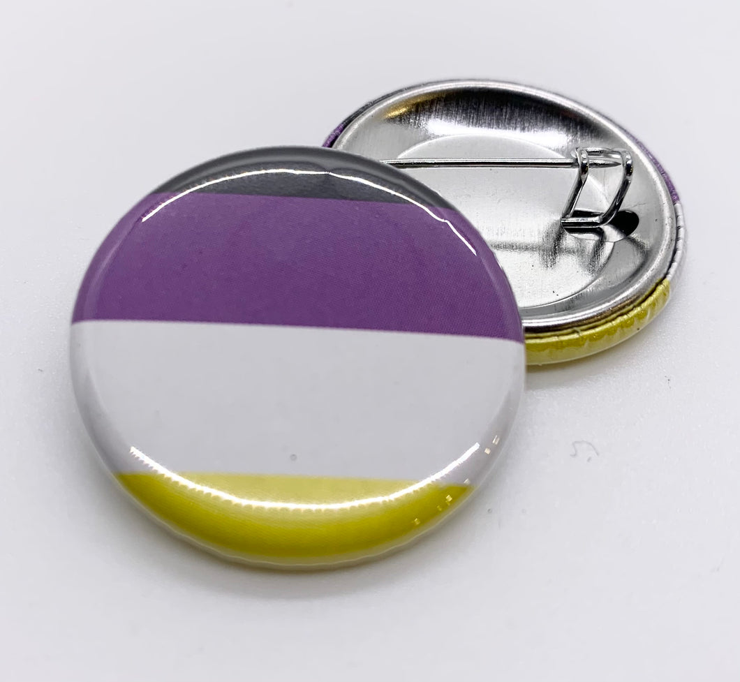 Non-Binary Flag Pin-Back Button