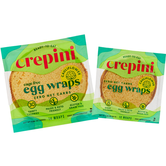 Egg Wraps With Cauliflower Variety Pack 4 Petite and 4 Grande