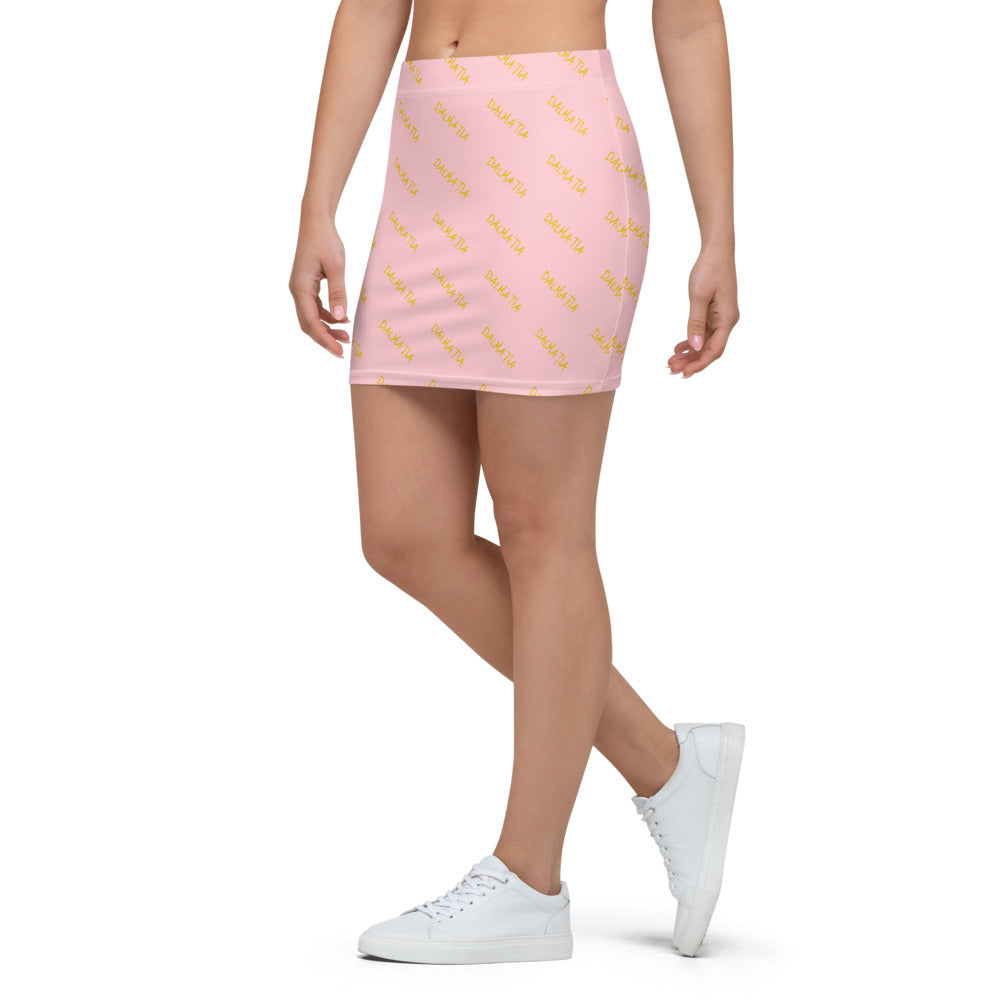Signature Pattern Pink And Yellow Mini Skirt