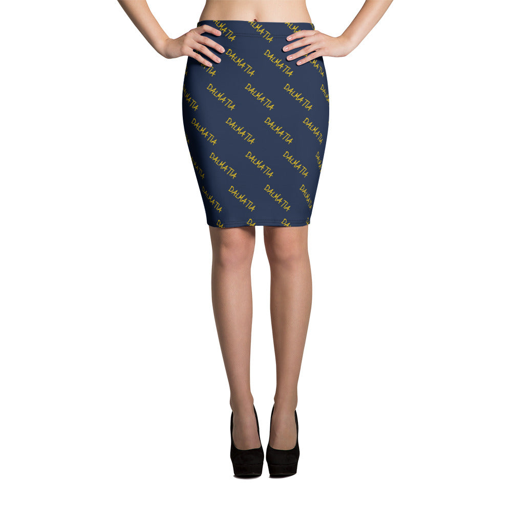 Signature Pattern Navy Blue And Yellow Pencil Skirt