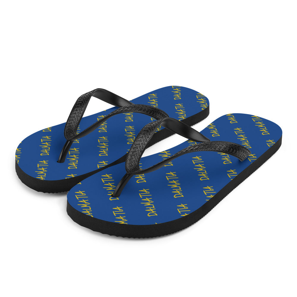 Signature Pattern Flip Flops Royal Blue/Yellow