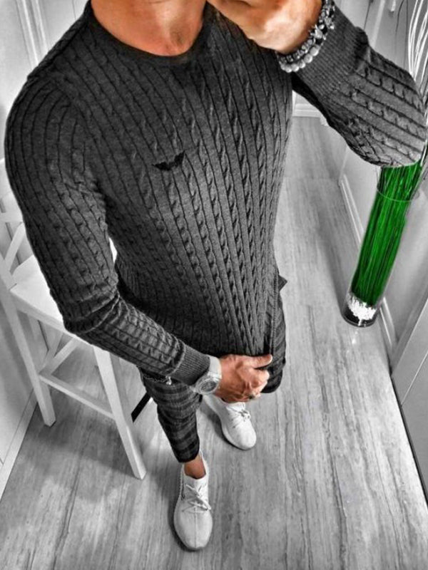Mens Plain O-Neck Vertical Stripes  Sweater