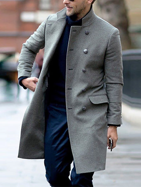 Mens Fashion Lapel Button Pocket Coat