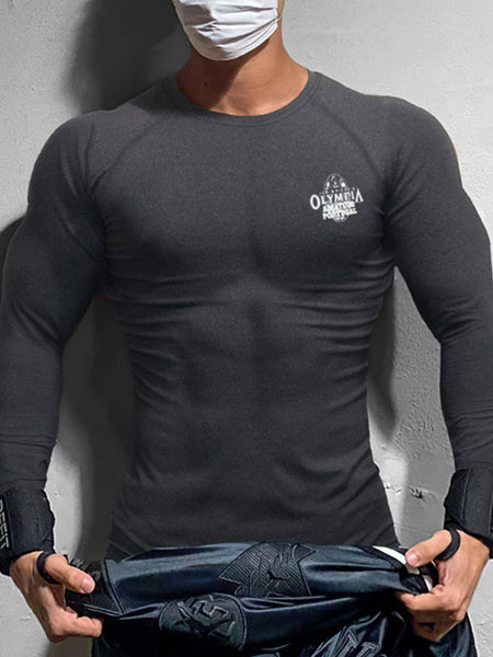 Mens Sports Fitness Stretch Slim T-Shirt