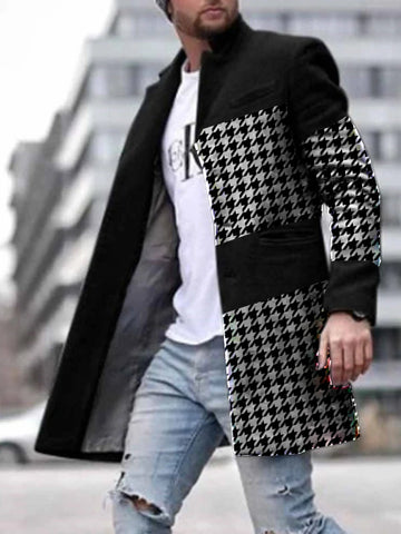 Mens Black Stand-Collar Houndstooth Coat