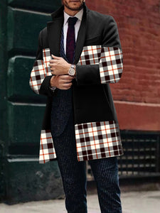Mens Black Lapel Plaid Patchwork Wool Coat