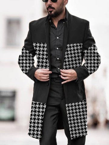 Mens Lapel Houndstooth Patchwork Coat