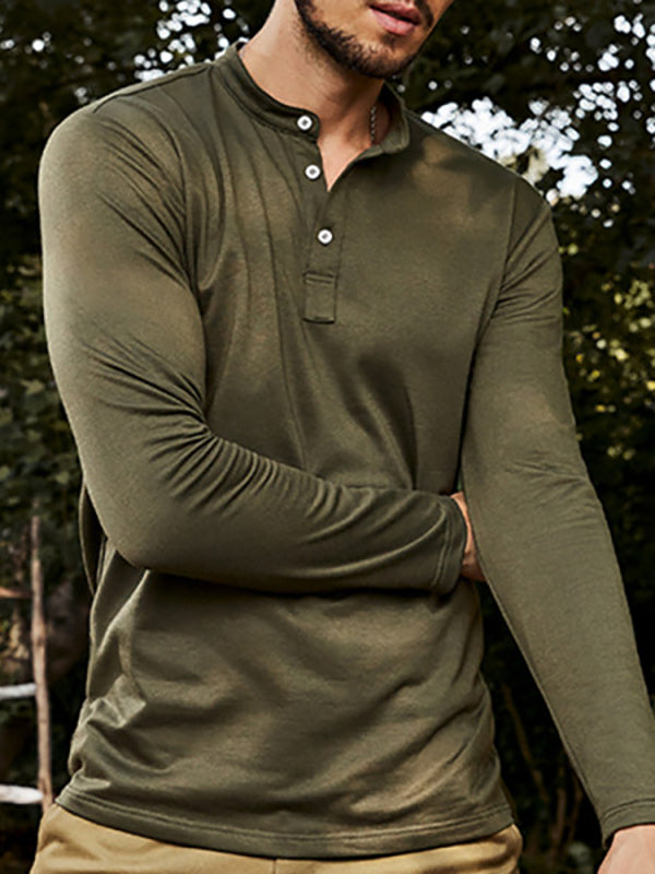 Mens V-Neck Button T-Shirt