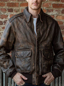 Mens Fashion Lapel Pocket Leather Jacket