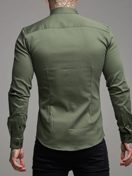 Mens Casual Muscle MenS Lapel Slim Shirt