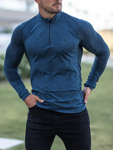 Mens Sports Fitness Stand Collar T-shirt
