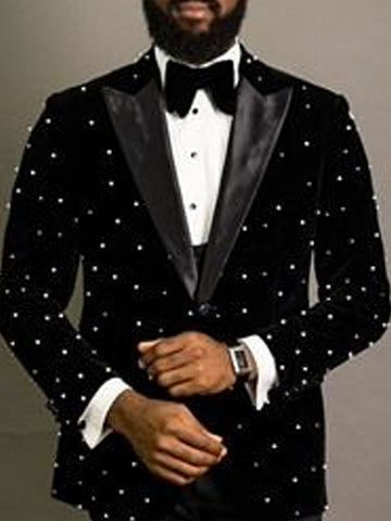 Mens Fashion Casual Lapel Beaded Slim Suit