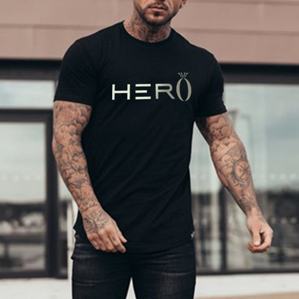Mens Fitness Printed Round  T-Shirt