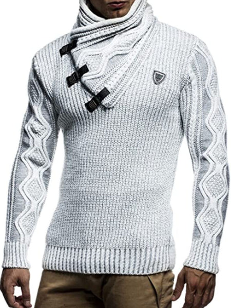 Mens High Collar Diagonal  Sweater