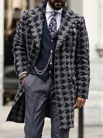 Men's Fashion Lapel Houndstooth  Coat