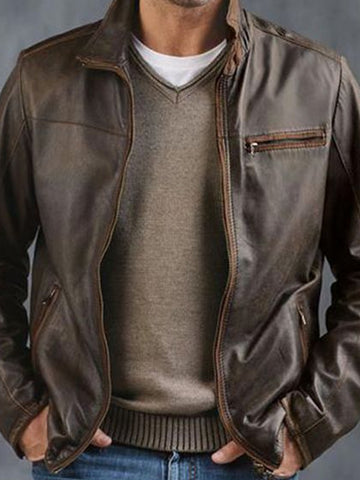 Mens Casual Zipper Stand Collar Leather Jacket