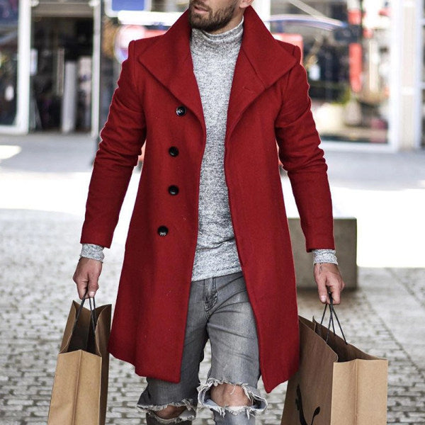 Men's Red Fashion Casual Long Coat