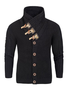 Mens Fashion Black Horn Button  Sweater