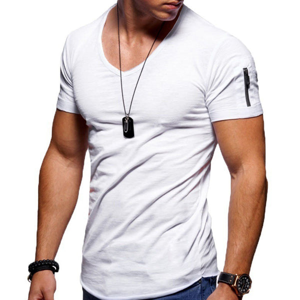 Large Size V-Neck Solid Color Short-Sleeved T-Shirt