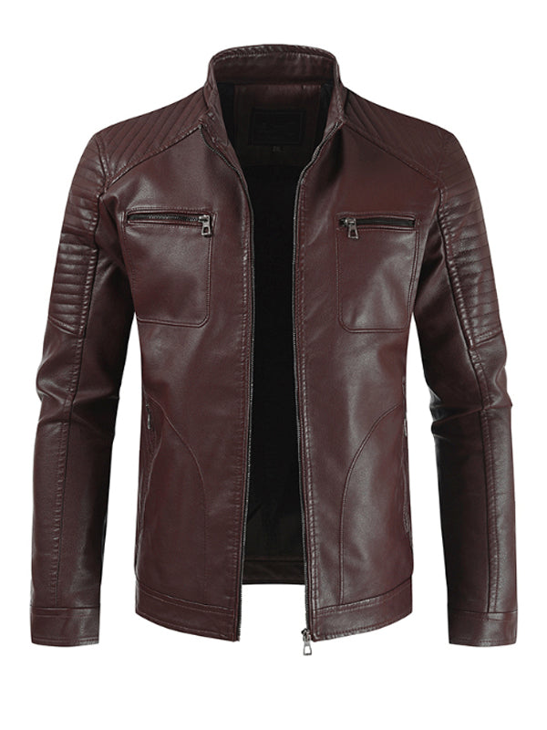 Mens Stand-Up Collar Motorcycle Jacket