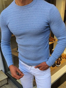 Mens Fashion Casual Plain Round Sweater