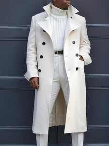 Fashion White Mid-Length  Woolen Coat