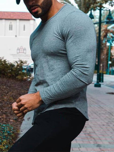 Mens Sports Fitness Print Round Neck T-Shirt