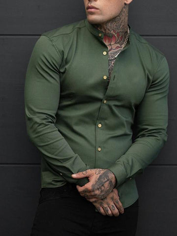 Mens Casual Muscle MenS Stand-Up  Shirt