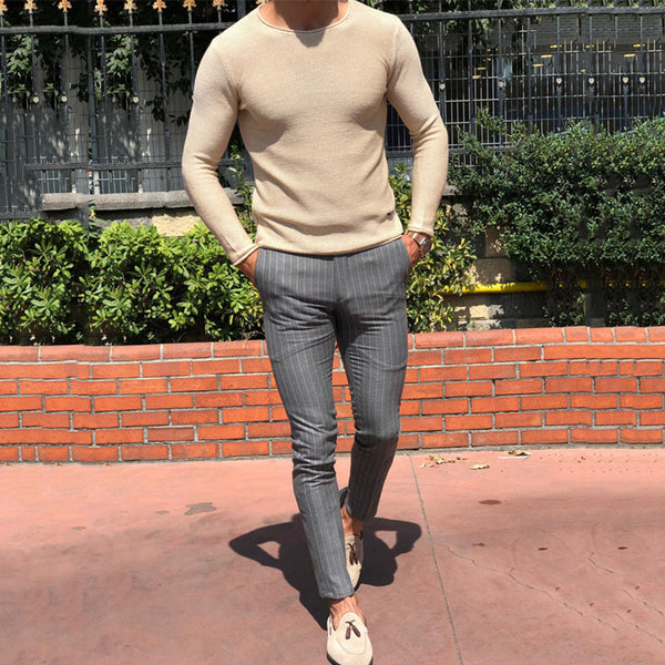Men's Solid Color Thread Round  Sweater