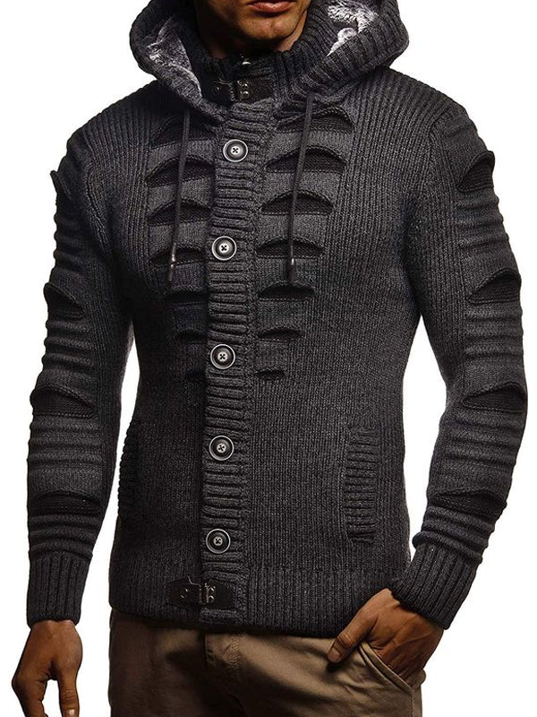Mens fashion casual thick hooded sweater
