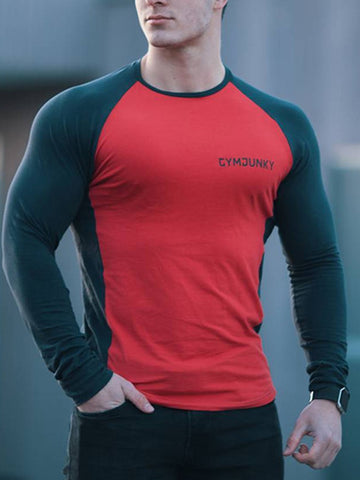 Mens casual sports stretch tight  T-shirt