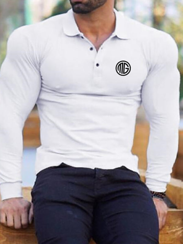 Mens Long Sleeve Lapel Tight T-shirt