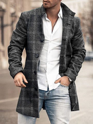 Mens Stand Collar Mid-Length  Coat