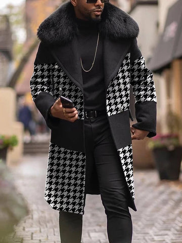 Mens Faux Fur Collar Houndstooth  Coat